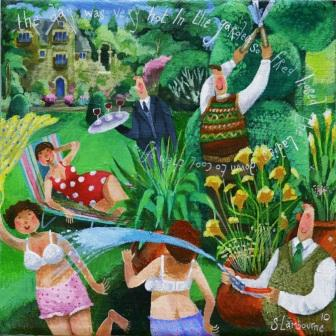 British Artist Stephanie LAMBOURNE - Garden Shower