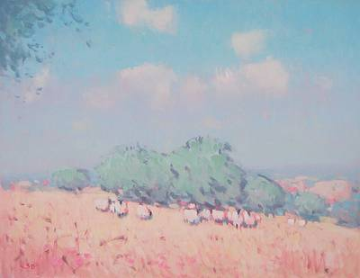 British Artist Stephen BROWN - Landscape with Sheep, Tuscany