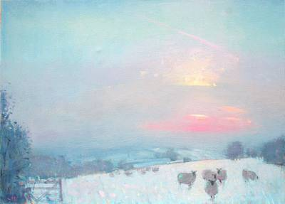 British Artist Stephen BROWN - Snow and Sheep, Cotswolds