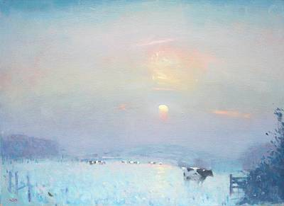 British Artist Stephen BROWN - Winter Sunset, Cows