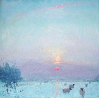 British Artist Stephen BROWN - Sunset, Winter Haze