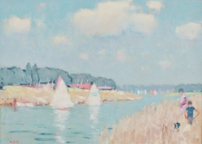 British Artist Stephen BROWN RBA - Sailing on the Exe