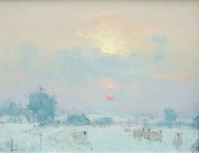 British Artist Stephen BROWN RBA - Sunset, the High Cotswolds