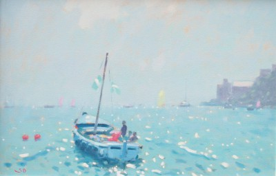 British Artist Stephen BROWN RBA - Blue Boat, Dartmouth
