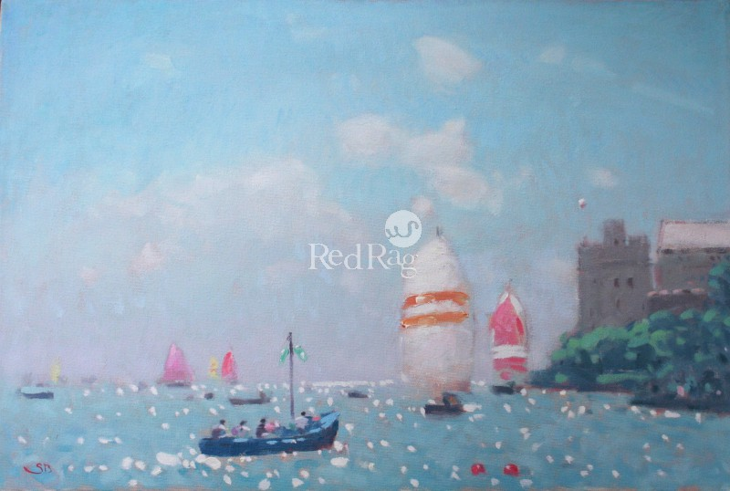 Stephen BROWN RBA - Blue Boat and Spinnakers, Dartmouth