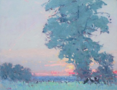 British Artist Stephen BROWN RBA - Sunset, Somerset