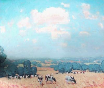 British Artist Stephen BROWN - A View towards Sudeley Castle