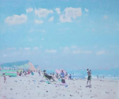 Sidmouth Beach painting by artist Stephen BROWN RBA
