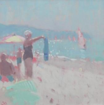British Artist Stephen BROWN - The Blue Beach Towel
