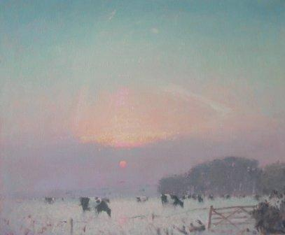 British Artist Stephen BROWN - Snowy Sunset