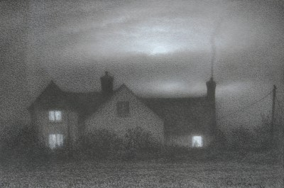 British Artist Steven OUTRAM - The Owl Watches