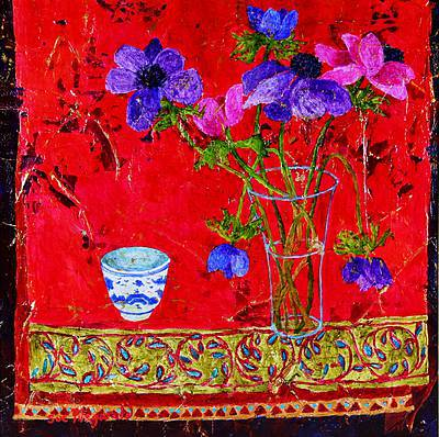 Sue FITZGERALD - Anemones and Embroidered Silk