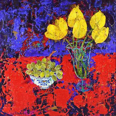 Sue FITZGERALD - Grapes on Red Cloth