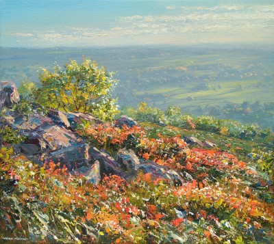 Sunlit Oak and Bilberry, Baslow Edge painting by artist Mark PRESTON