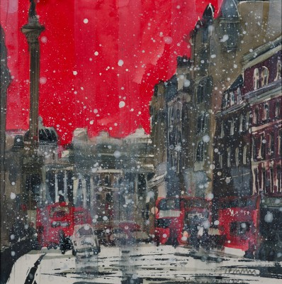 Susan BROWN - Snow Storm Toward Trafalgar Square