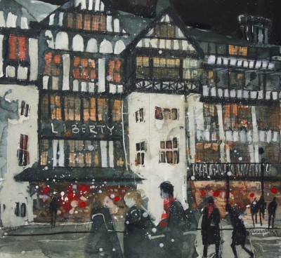 British Artist Susan BROWN - Evening Shopping, Libertys, London