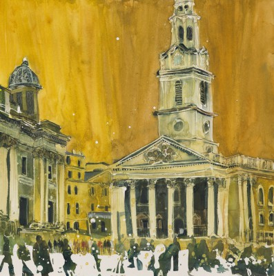 British Artist Susan BROWN - Church on the Square - London