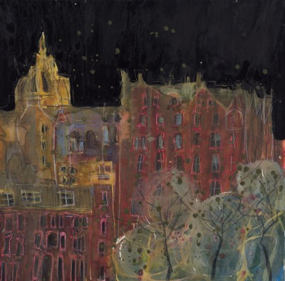 British Artist Susan BROWN - Tartan Tapestry of Buildings, Edinburgh