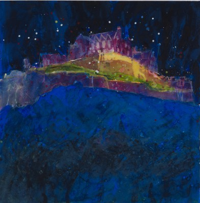 British Artist Susan BROWN - Twilight, Edinburgh Castle