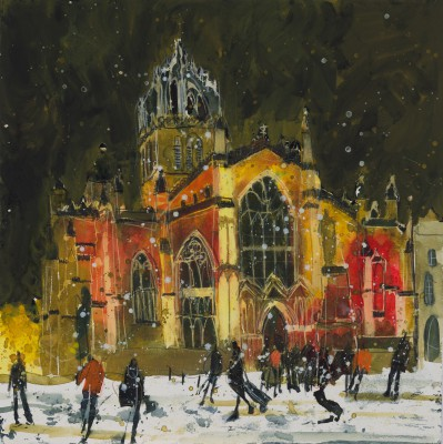 British Artist Susan BROWN - Winter at the High Kirk, Edinburgh