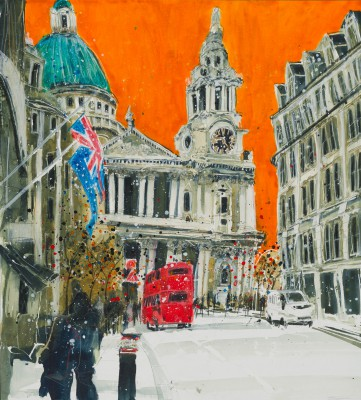 At the Top of Ludgate Hill. London painting by artist Susan BROWN