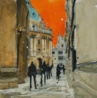 British Artist Susan BROWN - Walking by the Radcliffe Camera, Oxford