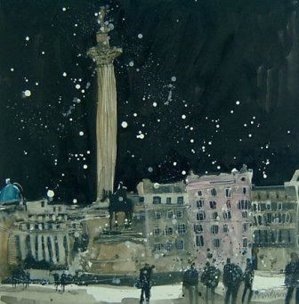 British Artist Susan BROWN - Trafalgar Square II, London