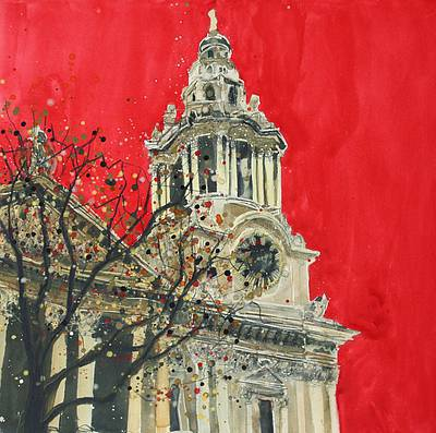 British Artist Susan BROWN - West Front Tower with Clock Face, St Paul's