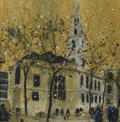 British Artist Susan BROWN - St Clement Danes from the Strand