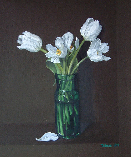 Tobias HARRISON - White Tulips in a Green Glass Jar