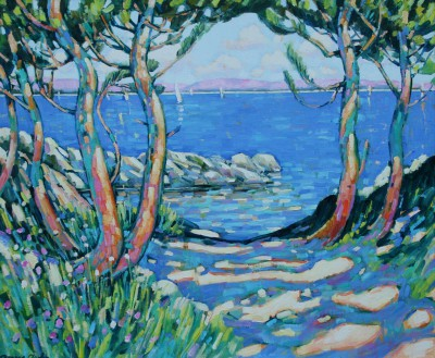 British Artist Terence CLARKE - Pines by the Lake, Provence