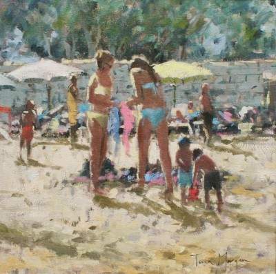 British Artist Tina MORGAN - Girls Buying Beach Wear