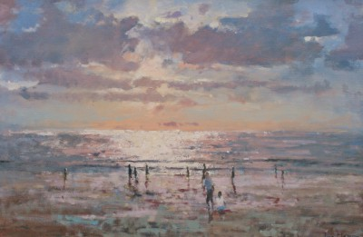British Artist Tina MORGAN - October Evening, Kuta Beach
