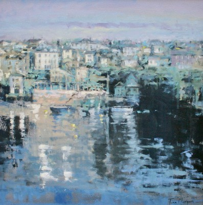 British Artist Tina MORGAN - A View of Fowey from the River