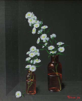 British Artist Tobias HARRISON - Camomile in Two Glass Bottles