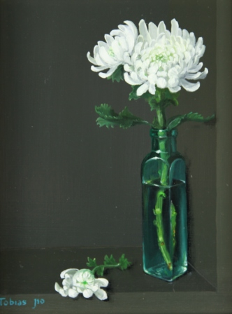 Tobias HARRISON - White Chrysanthemum in Glass Bottle