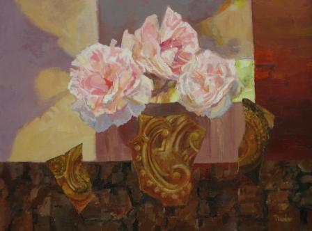 British Artist Tom WANLESS - Peonies and Guilded Fragments