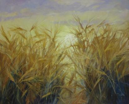 British Artist Tom WANLESS - Edge of the Field at Sunrise