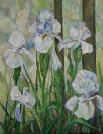 British Artist Tom WANLESS - White Irises and Flemish Glass