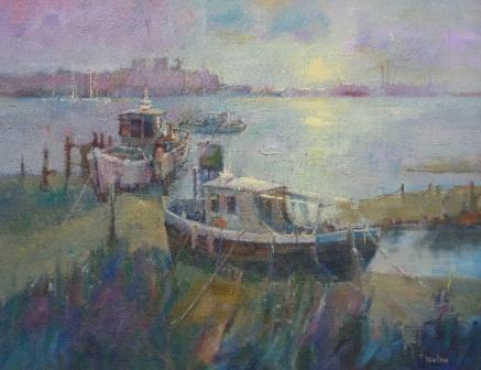 British Artist Tom WANLESS - Daybreak on the Estuary
