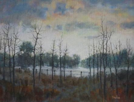 British Artist Tom WANLESS - Saplings in Winter