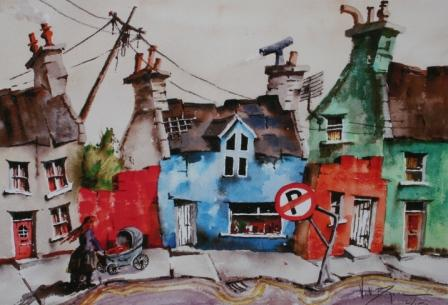 British Artist Val Byrne - No Parking in Ardgroom