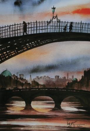 Limited Edition Prints Artist Val Byrne - The Ha'penny Bridge, Dublin