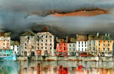 British Artist Val Byrne - New Ross Quays, Wexford