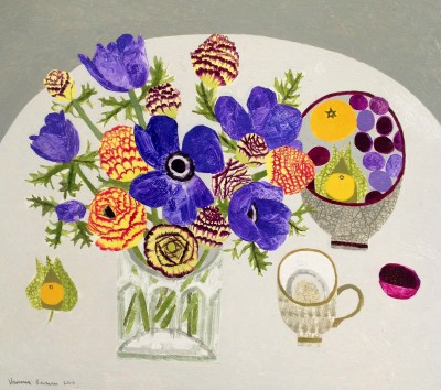 Blue Anemones and Ranunculas painting by artist Vanessa BOWMAN