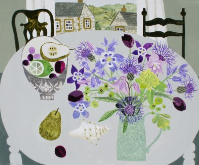 Vanessa BOWMAN - Aquilegias on Grey Table