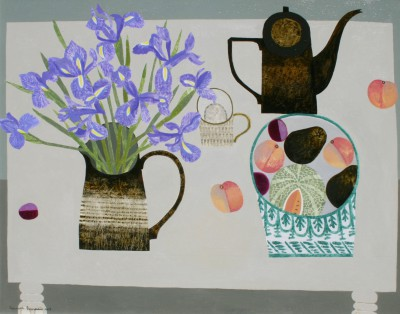 Vanessa BOWMAN - Blue Irises, Peaches and Coffee Pot