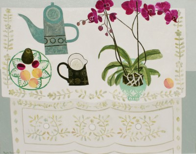 British Artist Vanessa BOWMAN - Orchid, Green Coffeepot and Peaches