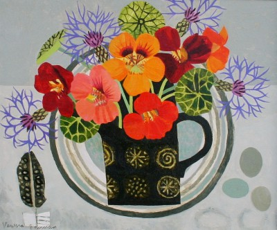 Nasturtiums in Black Jug painting by artist Vanessa BOWMAN