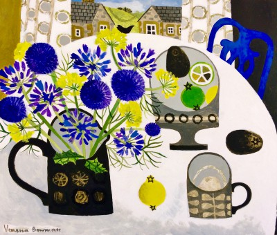 British Artist Vanessa BOWMAN - Agapanthus, Thistles and Blue Chair